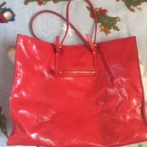 Talbots Red Leather Tote Bag